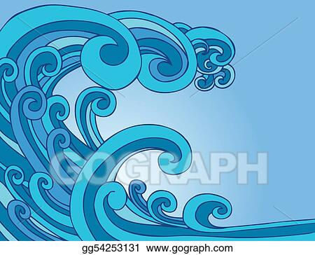 Wave tsunami. Eps illustration blue vector