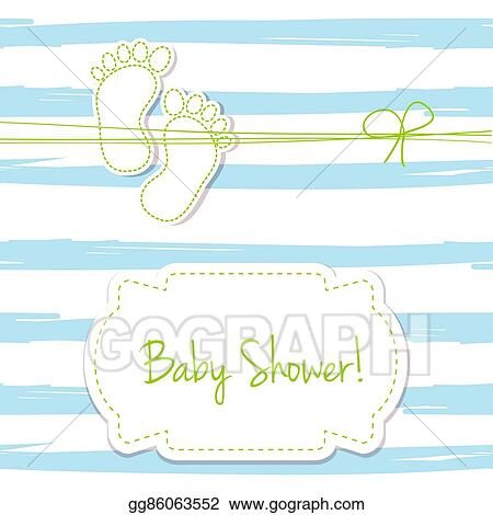 Drawing Blue Vector Card Invitation For Baby Shower Arrival Or