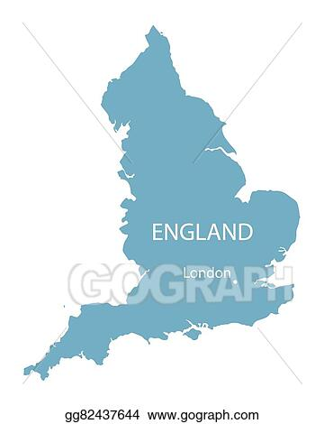 EPS Vector - Blue vector map of england with indication of ...