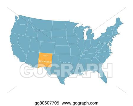 Vector Illustration - Blue vector map of united states with ...