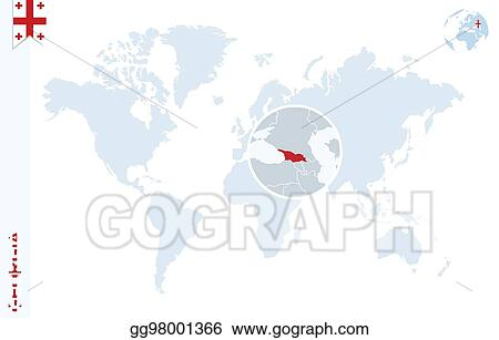 Georgia Map Of World.Vector Art Blue World Map With Magnifying On Georgia Clipart