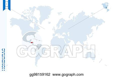 Vector Stock - Blue world map with magnifying on honduras. Stock ...