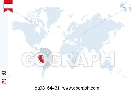 Peru On The World Map.Clip Art Vector Blue World Map With Magnifying On Peru Stock Eps