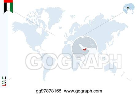 Vector art blue world map with magnifying on united arab emirates blue world map with magnifying on united arab emirates gumiabroncs Choice Image