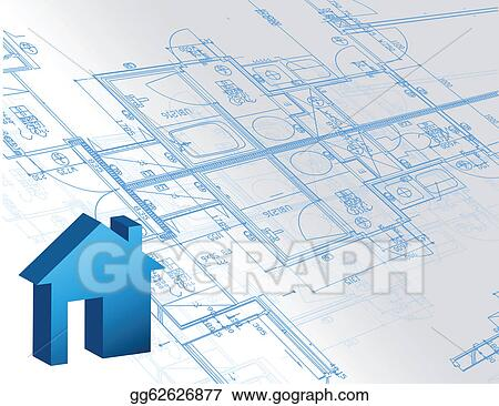 Vector art blueprint architectural map and 3d house model eps blueprint architectural map and 3d house model malvernweather Images