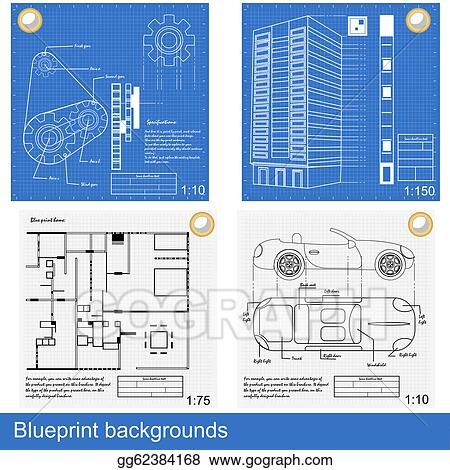 Vector illustration blueprint backgrounds eps clipart gg62384168 vector illustration four different blueprints gears a building inside house and a car eps clipart gg62384168 malvernweather Gallery