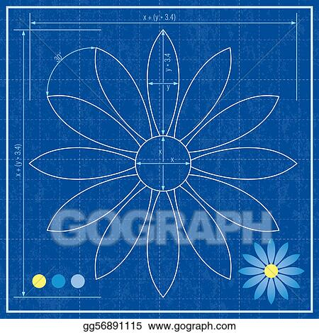 Eps vector blueprint of a flower stock clipart illustration blueprint of a flower malvernweather Image collections