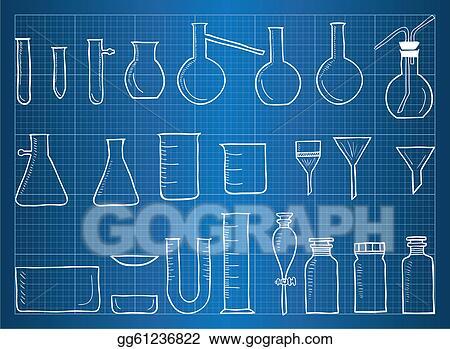 Vector illustration blueprint of chemical laboratory equipment blueprint of chemical laboratory equipment malvernweather Choice Image