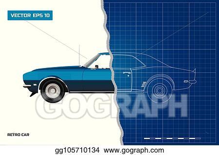Vector Stock - Blueprint of retro car  american vintage automobile
