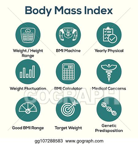 Clip Art Vector Bmi Body Mass Index Icon Set With Bmi Machine Weight Scale Etc Stock Eps Gg107288583 Gograph