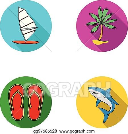 Vector Stock - Board with a sail, a palm tree on the shore