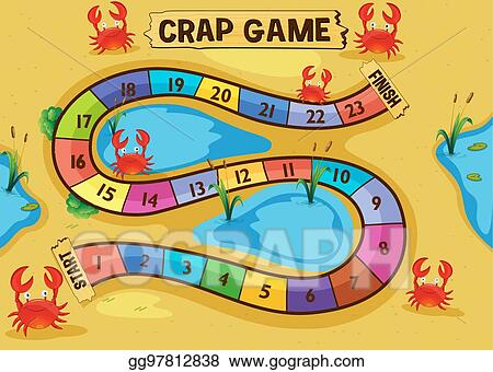 Vector Art Boardgame Template With Crabs On The Sand Eps Clipart