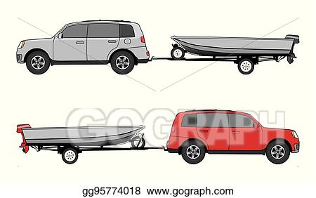 Vector Illustration - Boat trailer and car. EPS Clipart ...