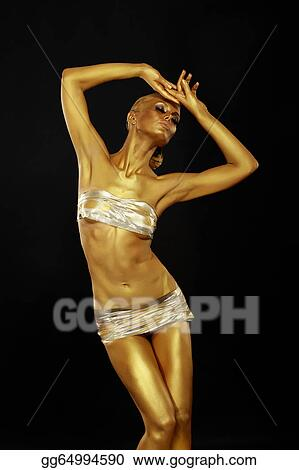 Pictures Body Art Coloring Graceful Woman With Shiny Gold Makeup In Reverie Golden Statue Stock Photo Gg64994590 Gograph