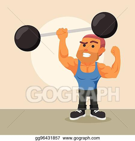Vector Stock - Body builder lifting giant dumbell  Stock Clip Art
