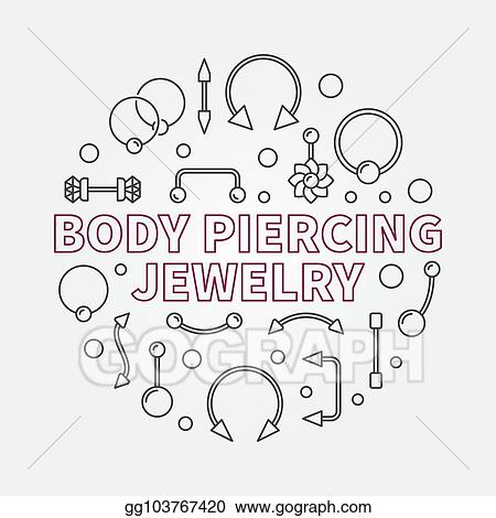 Vector Art Body Piercing Jewelry Vector Modern Outline Illustration Clipart Drawing Gg103767420 Gograph
