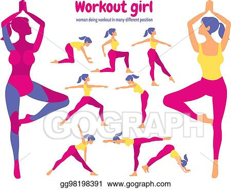 Vector Art Body Workout Set Pack Of Body Parts Woman Doing Fitness And Yo Eps Clipart Gg98198391 Gograph