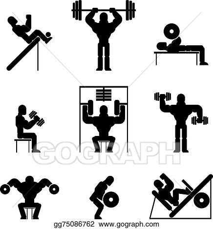 Brilliant Vector Stock Bodybuilding And Weightlifting Icons Stock Gmtry Best Dining Table And Chair Ideas Images Gmtryco
