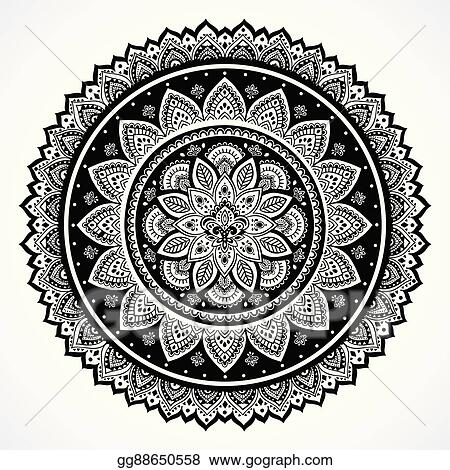 Vector Art Bohemian Indian Mandala Towel Print Vintage Henna