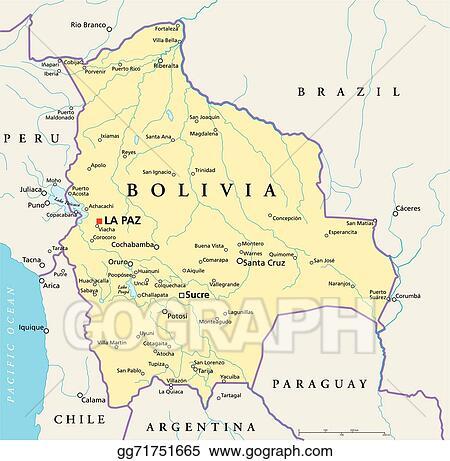 Vector Illustration Bolivia Political Map Stock Clip Art