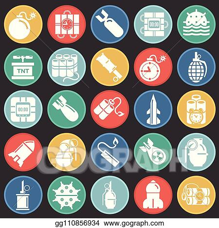 Vector Illustration - Bomb and weapon icons set on color