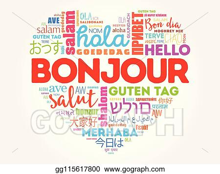Vector Clipart Bonjour Hello Greeting In French Vector Illustration Gg115617800 Gograph