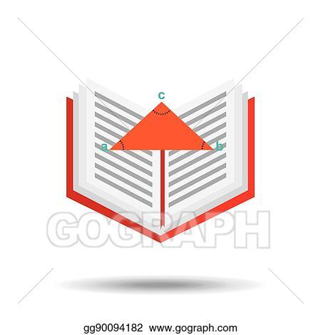 Vector Illustration - Book school open and triangle geometri