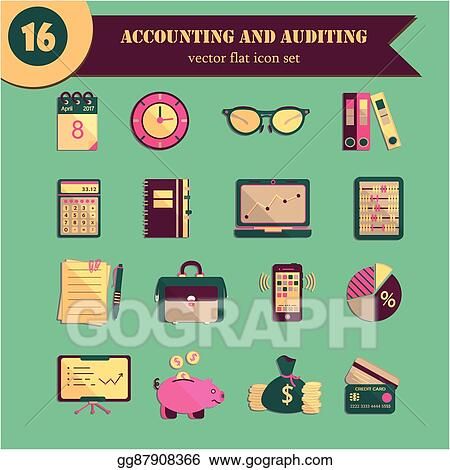 eps illustration bookkeeping vector flat icons finance accounting and auditing economic business symbols business illustration vector clipart