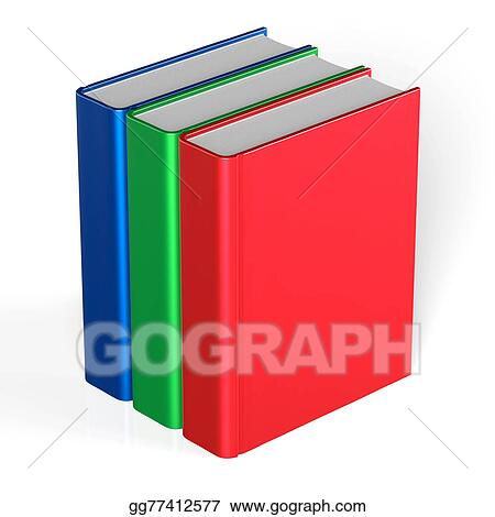 drawing books blank three cover standing 3 textbook template icon