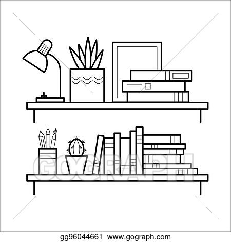 Vector Art Bookshelf in thin