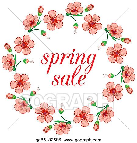 Vector Art Border Floral Flower Frame Wreath Design Element Clipart Drawing Gg85182586 Gograph