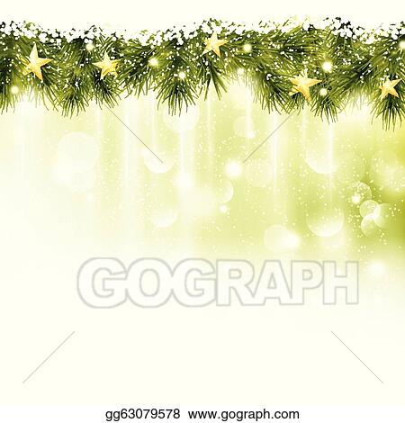 border of fir twigs with golden stars in soft light green background