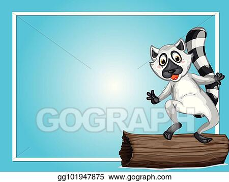 Vector Illustration Border Template With Cute Lemur Eps Clipart
