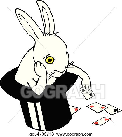 vector art bored bunny in magic hat clipart drawing gg54703713 rh gograph com  magic hat clipart black and white