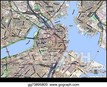 Vector Art Boston Massachusetts Usa City Map Clipart Drawing - Boston ma usa map
