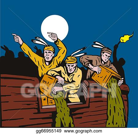 Stock Illustration Boston Tea Party Raiders Retro