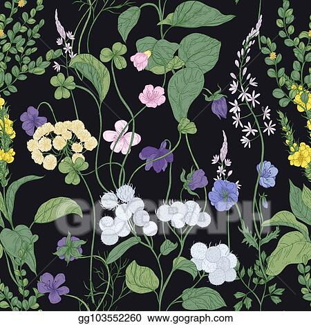 Vector Clipart Botanical Seamless Pattern With Blooming Wild
