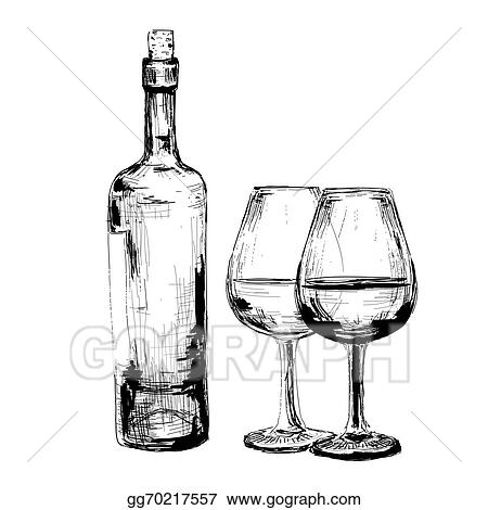 drawing bottle of wine and two glasses clipart drawing gg70217557
