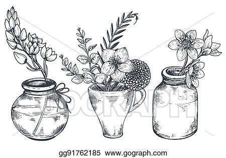 Vector Stock Bouquets With Hand Drawn Flowers And Plants In Vases