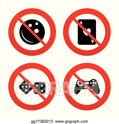 Vector Illustration Bowling And Casino Signs Video Game Joystick