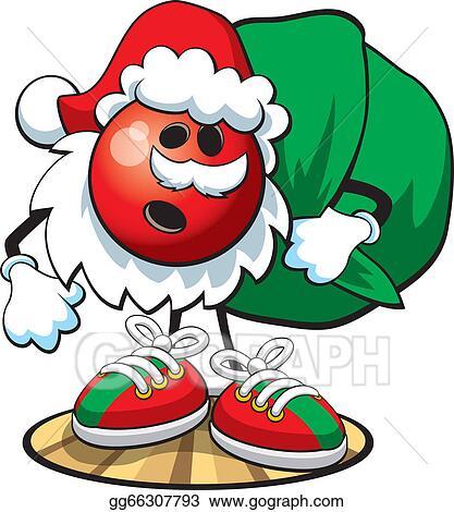 Bowling christmas. Vector art ball character