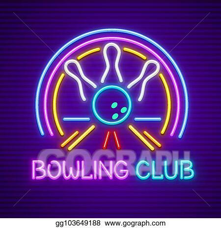 Bowling neon. Clip art vector club