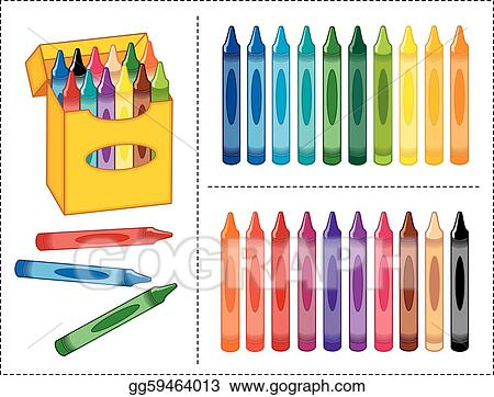 eps illustration box of crayons 20 colors vector clipart