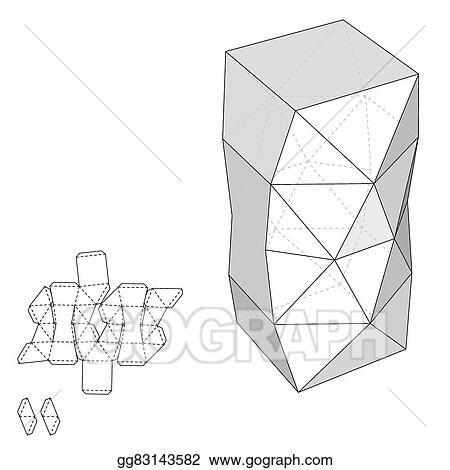 eps illustration box with die cut template packing box for food