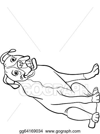 Vector Illustration - Boxer dog cartoon for coloring book. EPS ...