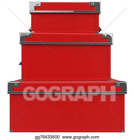 Clip Art - Boxes front view  3d graphic  Stock Illustration