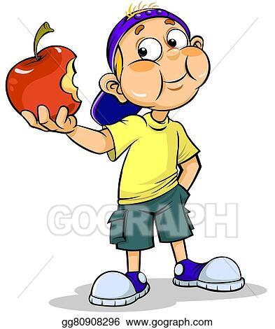 Stock Illustration Boy And Apple Clip Art Gg80908296