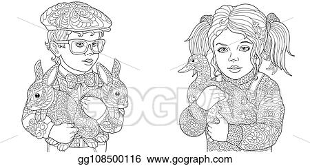 Vector Illustration Boy And Girl Coloring Pages Stock Clip Art