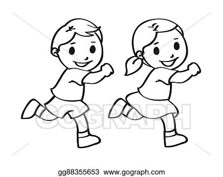 Drawings of girls boy. Vector stock and girl