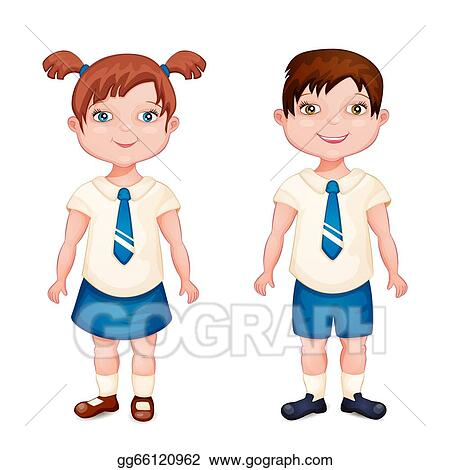 Vector Stock Boy And Girl In School Uniform Clipart Illustration